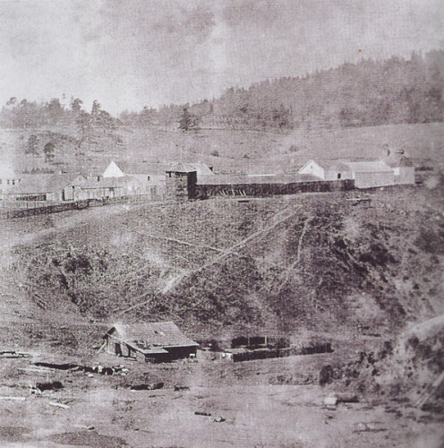 First photograph of Fort Ross settlement and its cove; 1865.