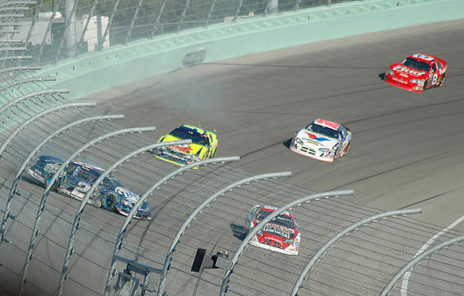 This is a usual sight at most Sprint Cup races, but the drivers are protected with various safety belts and harnesses that prevent them from being seriously injured.