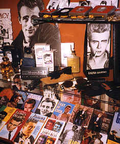 Magazines from around the world and other items on display at the extensive James Dean Gallery