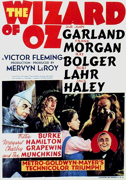 This Wizard of Oz movie poster is in the public domain because it was published in the United States between 1923 and 1977 without a copyright notice.
