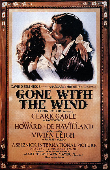 This Gone with the Wind Movie Poster is in the public domain because it was published in the United States between 1923 and 1977 without a copyright notice.