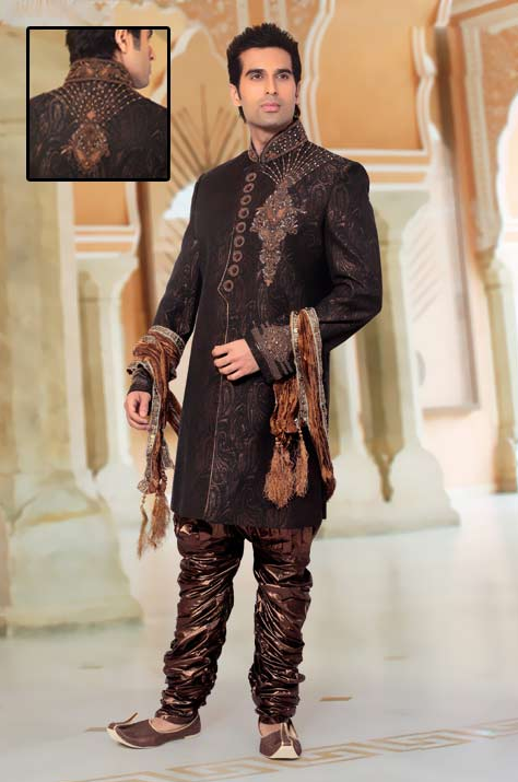 Dark Grey Brocade Readymade Indo Western Suit