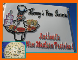 Manny's Bakery New Mexico where the Dad learned from a German baker and then added Mexican pastries like biscochito cookies.