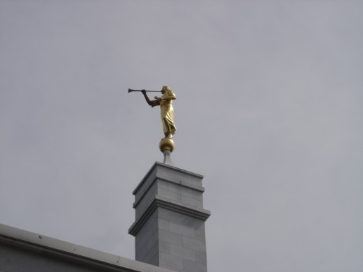 All LDS temples have a statute of the Angel Moroni at their highest point.