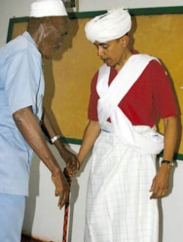 Obama, right, was dressed as a Somali elder