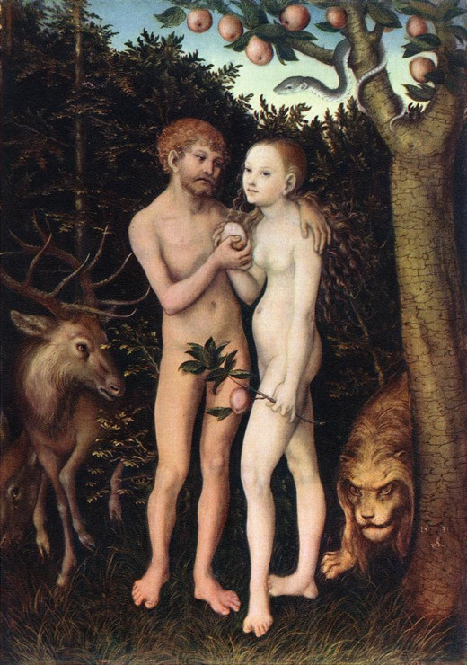 Adam & Eve by  Artist: Lucas Cranach the Elder Completion Date: 1533 (Photo Credit:http://www.wikipaintings.org/) Place of Creation: Germany