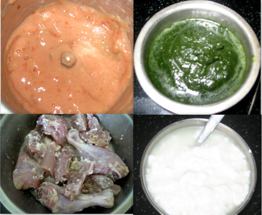 Ingredients : Tomato paste- Coriander paste -Marinate Chicken-Curd