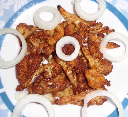 Fried Gobi 65 with onion(Garnished)