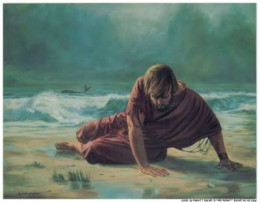 Prophet Jonah being spilled out by a big fish at the shore of Nineveh (Photo Credit: http://jesusfootprints.wordpress.com/)