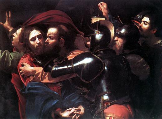 Judas betrays Jesus with a Kiss - Artist: Caravaggio (Photo Credit:http://valtorta.org/judas_and_saint_peter_defaultpage.asp)