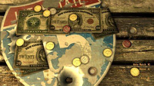 There's quite a bit of gambling going on in New Vegas, but only inside the casinos, which have licences. Anywhere else there's a card game specifically designed for Fallout New Vegas, called Caravan.