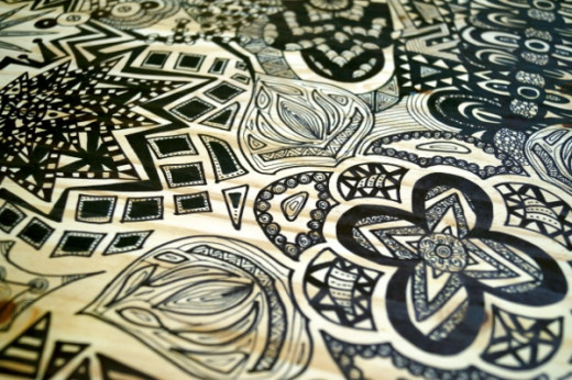 A close up of the Sharpie art design.