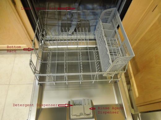 Dishwasher: Bottom Rack, Bottom Spray Arm and Detergent Dispenser