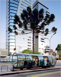 "A ""tube station"" on one of Curitab's bus routes."