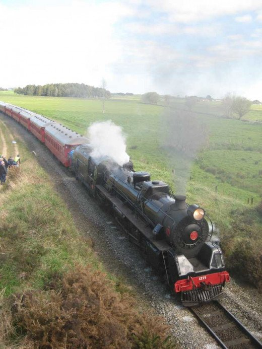 The steam engine with nine heritage carriages, New Zealand.