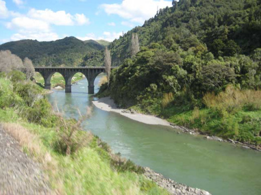Bridge over Manawatu river, New Zealand.