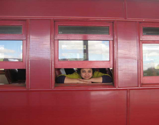 The window of the steel car which can be opened, steam train, New Zealand