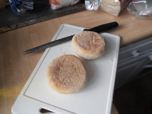 Any bread muffins will do, not just white. Wholemeal is just as tasty