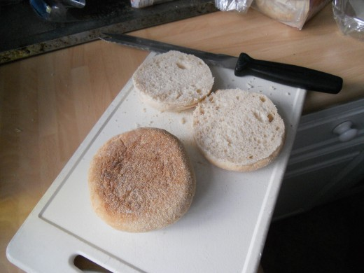 Cut your muffins in half using a bread knife