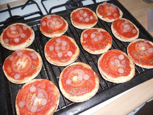You may wish to add the cheese after your toppings, to stop them from drying out or becoming burnt under the grill