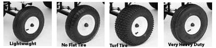 Four tire options including flat free