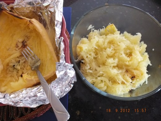 "Take a fork and run it crosswise in the baked squash and you will know why it is called ""spaghetti squash""."