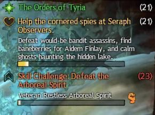 """The random events appear as orange text and a shield, crossed swords or as """"skill challenges"""" like this one, while the reputation gains can only happen once, and are displayed in yellow with an empty heart. The green section is your storyline quest."""