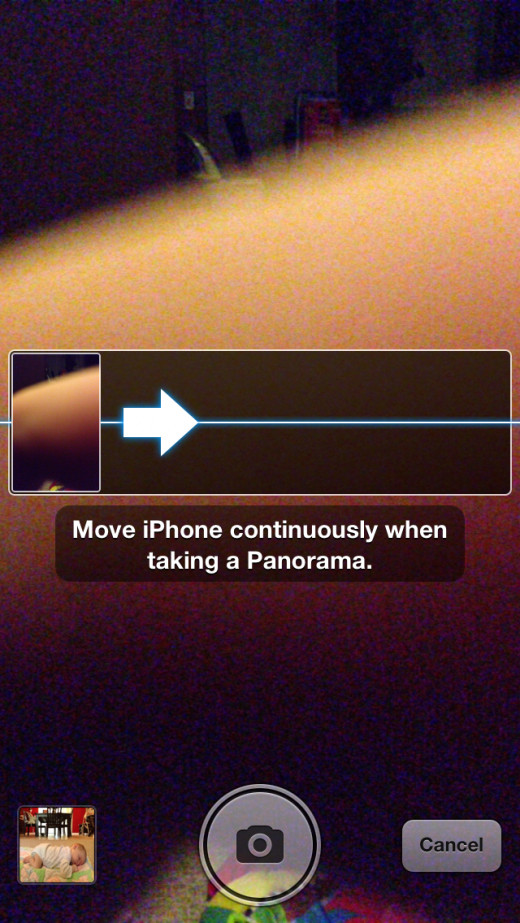 Position your iPhone so that the left-most part of the image you want to capture shows up in the box on the left side of the rectangle box. Tap the camera icon to start capturing your image.