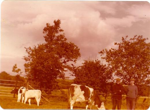 Samuel Kinneard and Thomas Kinneard, brothers, on the property of the Kinnaird/Kinneard ancestral home and farm. 1981, Ireland