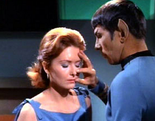 Mr.Spock on Star Trek had a nuique method of peering into the mind of others by touching their head with his out-stretched fingers and feeling the thoughts as they transferred down his arm and into his brain. This was called the Vulcan Mind Meld and