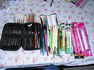 These are my entire collection of crochet hooks prior to destashing them :) I have 14 or so sets and some 60 +++ out of sets pieces.