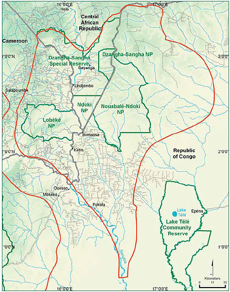 A map showing the location of the Dzanga National Park, where the famous bai is located. Note its proximity to the Democratic Republic of Congo- one of the most politically volatile areas on the planet.