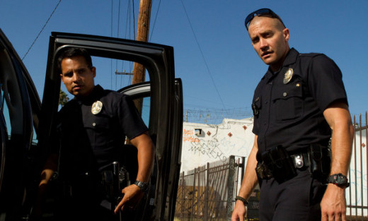 Screen shot of Taylor (Gyllanhaal) and Zavala (Pena) in End of Watch