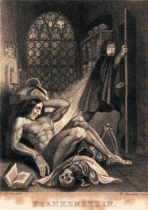 Frontispiece of the 1831 edition of Mary Shelley's Frankenstein