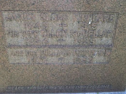 Gravestone of James Sloan Kinneard (1843-1915) and wife,  Ellen (McKellar) Kinneard.   Son, William Kinneard (1875-1952)