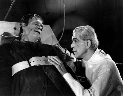 Glenn Strange and Boris Karloff in House of Frankenstein (1944)