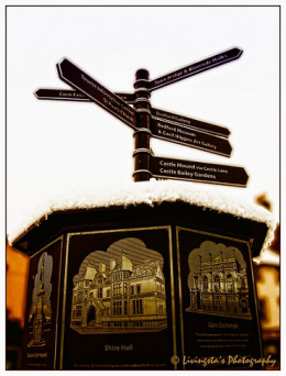 This is a sign post at the Market Square near St Paul's Cathedral, Bedford, England!