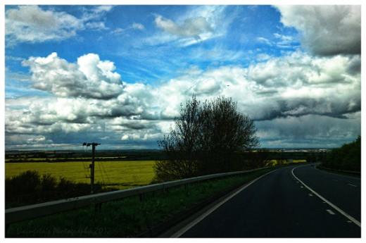 The sky across the fields.