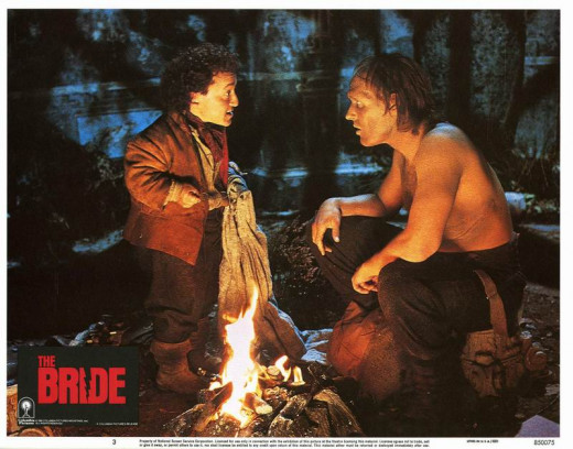 David Rappaport and Clancy Brown in The Bride (1985) Lobby Card