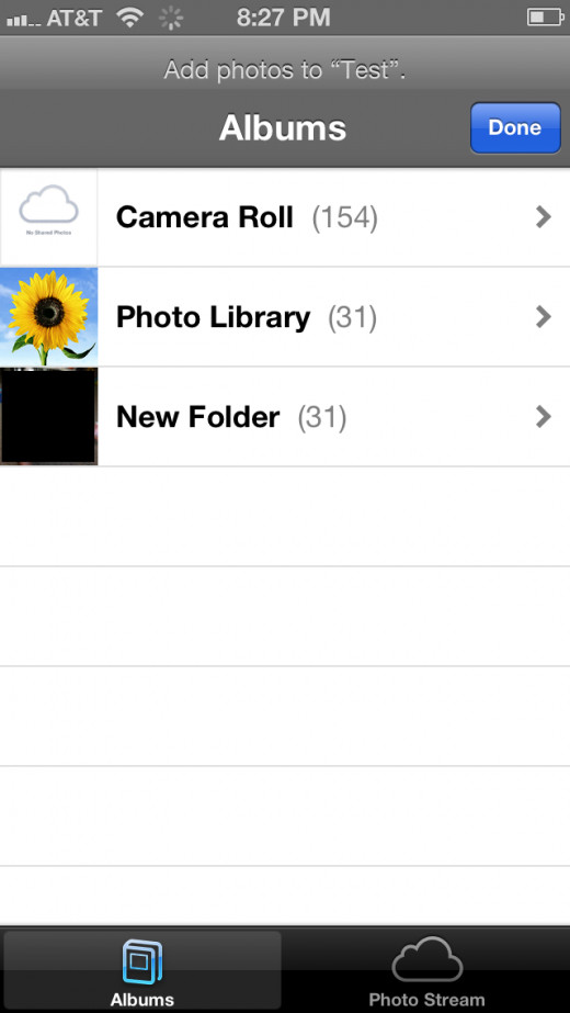 Tap the photo album that contains photos you want to add to the photo stream you just created.