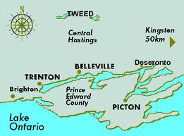 Map showing our route from Kingston, to Picton, through Prince Edward County and on into Bellville