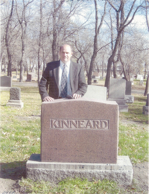 My brother, Kelly Kinneard, at Great-Grandfather's grave in Regina, SK.