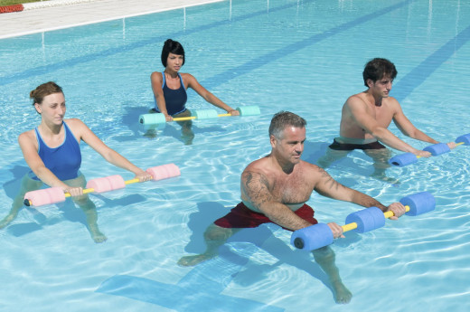 People exercise in water