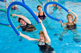 Women exercise on water
