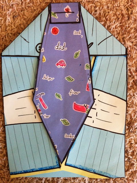 Staple or glue tie knot to top of card, add pinstripes to the shirt