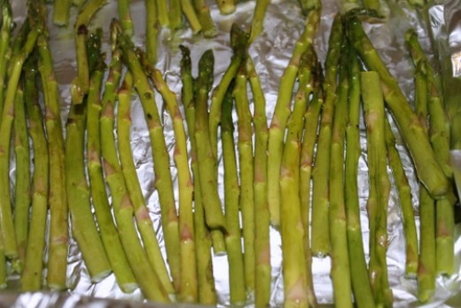 Spread the asparagus in a single layer in your pan