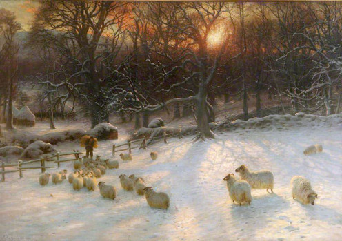 Beneath the snow encumbered branches (1903), painting by Joseph Farquharson (1846-1935)