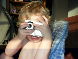 My son playing with my camera.