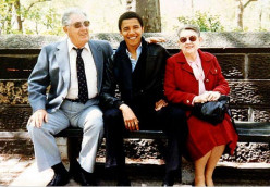 Obama with his grandparents. Who is that strange looking guy between those two Americans?