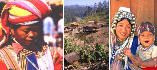 Lisu hill tribe woman, a Lahu hill tribe village and an Akha hill tribe mother and child, north Thailand